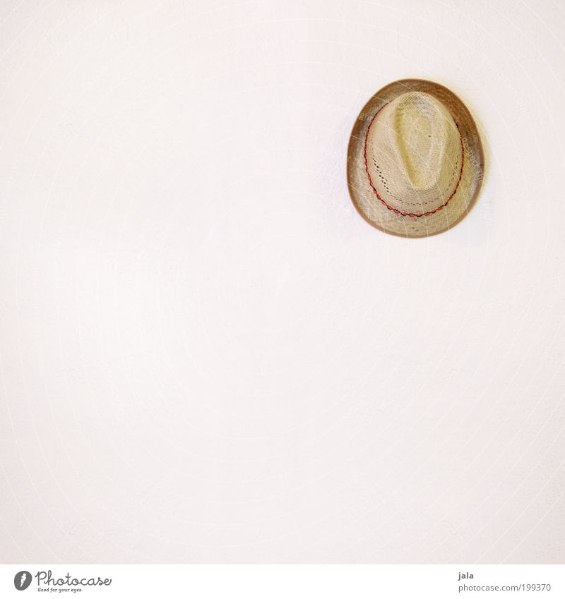 hat Facade Fashion Accessory Hat Straw hat Hang Simple Good Bright White Beige Headwear Colour photo Interior shot Deserted Copy Space left Copy Space bottom