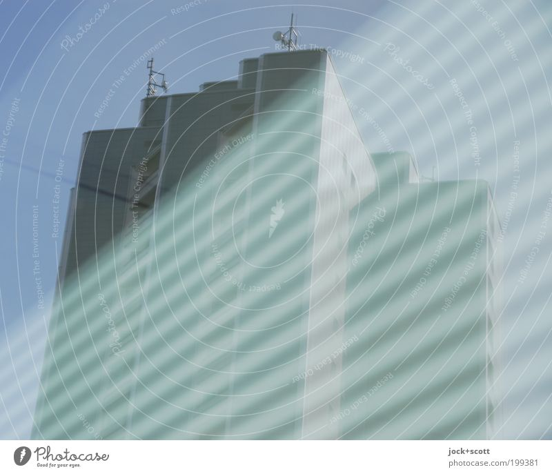 Blue Facade Modern High-rise Perspective Tall Large Stripe Change Illustration Cloudless sky Transparent Story Diagonal Sharp-edged Geometry