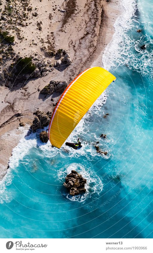 Paragliding in Lefkada Environment Nature Landscape Air Water Summer Beautiful weather Waves Coast Reef lefkada Greece Flying Swimming & Bathing Hiking Happy