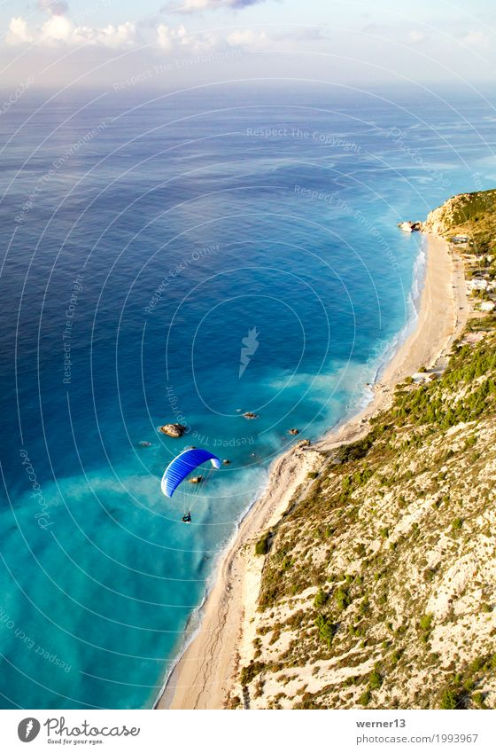 Paragliding in Lefkada Lifestyle Leisure and hobbies Vacation & Travel Tourism Summer vacation Ocean Island Sports Environment Landscape Air Water Waves Coast