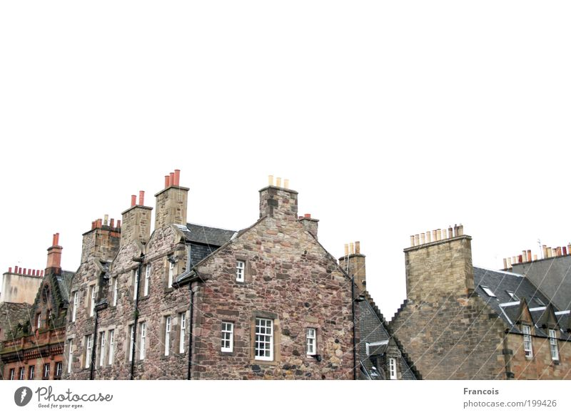 chimneys Town Deserted House (Residential Structure) Wall (barrier) Wall (building) Roof Chimney White Edinburgh Scotland Calm Colour photo Exterior shot