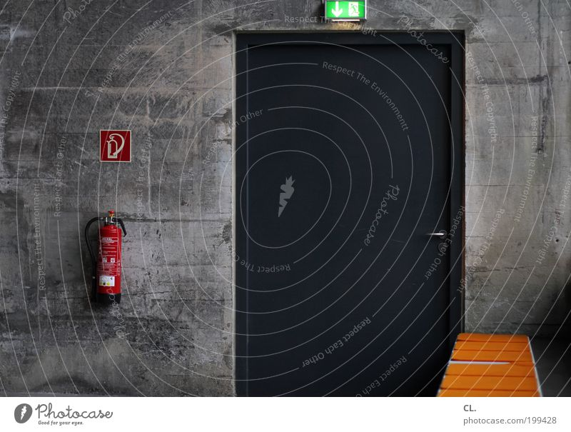 emergency exit Deserted Industrial plant Factory Wall (barrier) Wall (building) Door Extinguisher Work and employment Safety Protection Orderliness Boredom