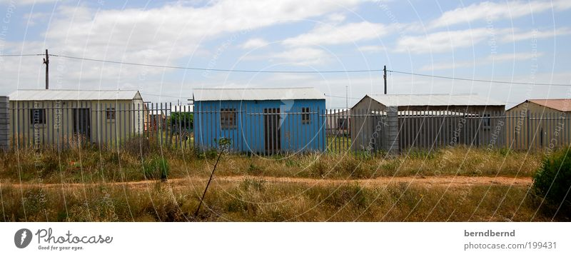 Sky Blue Summer Clouds Window Grass Wood Building Metal Brown Door Poverty Africa Decline Fence Border