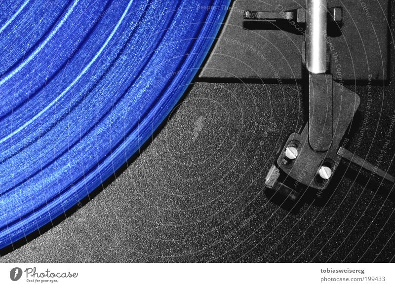 Blue music? Night life Music Disc jockey Record player Pick-up head Listen to music Media Plastic Line Old Esthetic Retro Black Silver Colour photo Deserted