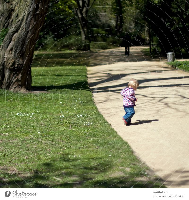 Human being Child Nature Green Tree Girl Summer Meadow Playing Movement Grass Lanes & trails Spring Park Infancy Footwear