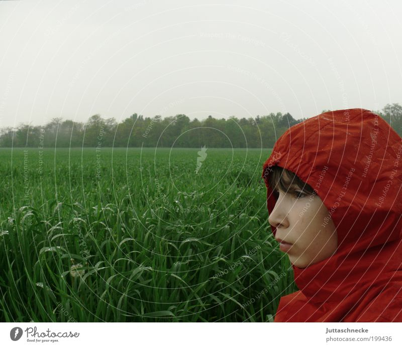 Human being Child Green Red Loneliness Boy (child) Autumn Meadow Spring Head Rain Field Wait Wet Infancy Jacket