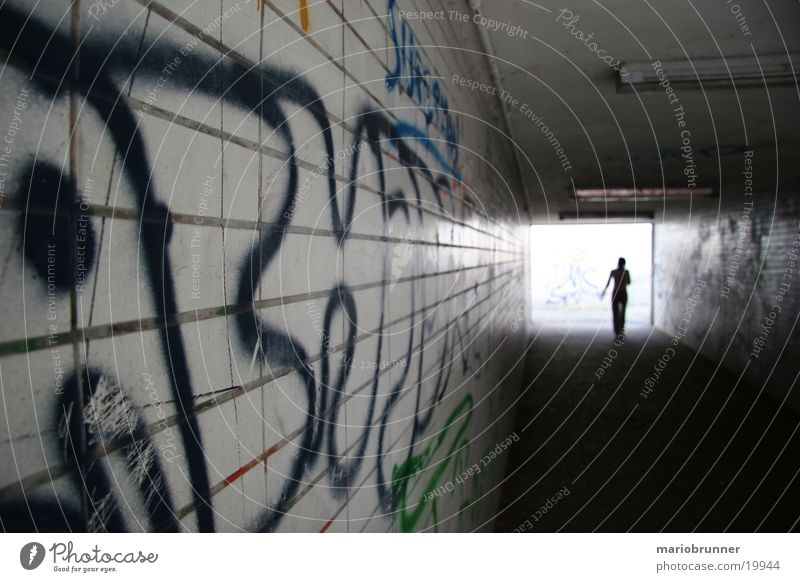 underpass Tunnel Tagger Light Dark Architecture Underpass graffiti Human being Loneliness Walking Tile Enzweihingen