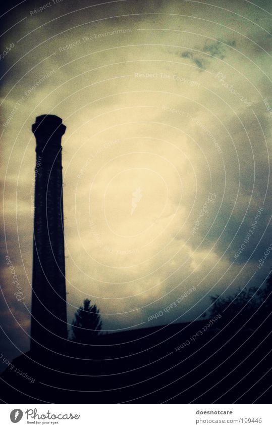 i can hear the drums... Bad weather Threat Sadness Chimney Vignetting Clouds Black Industry Emission Exhaust gas Air pollution Climate change Colour photo