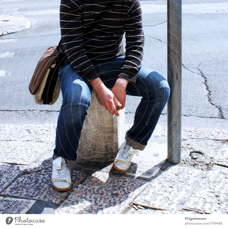 When it takes longer again! Lifestyle Legs Sit Wait To enjoy Tobacco products Smoking Break Relaxation Tar Boundary Sidewalk Bag Colour photo Exterior shot Day