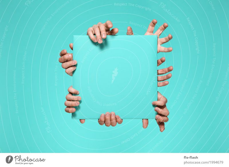 Blue Hand Style Playing Together Design Power Creativity Idea Fingers Shopping Safety Advertising Media Turquoise Advertising Industry