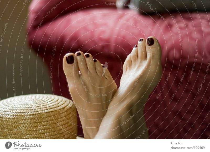 Woman Red Summer Calm Life Relaxation Feminine Happy Dream Feet Warmth Contentment Adults Sleep Authentic Lie