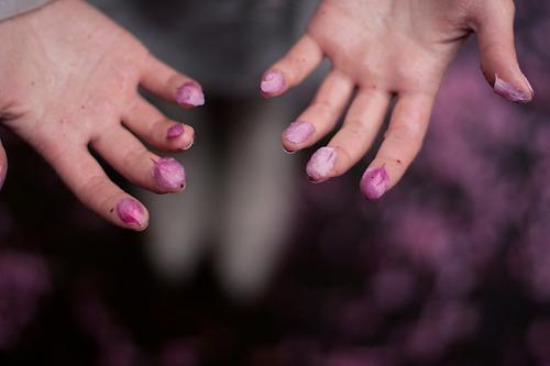 fallen Skin Hand Fingers Touch Fragrance Uniqueness Beautiful Violet Pink finger berries natural cosmetics Pastel tone Colour photo Blur Shallow depth of field