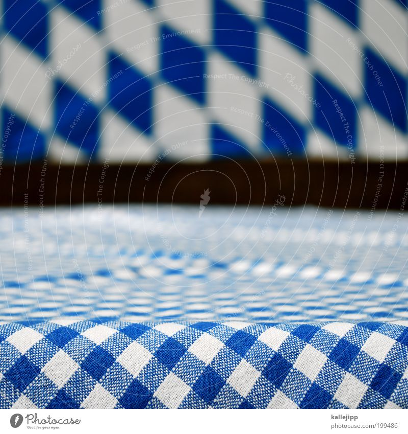 White Blue Elegant Munich Lifestyle Table Empty Symbols and metaphors Bavaria Tradition Oktoberfest Checkered Beer garden Tabletop Gastronomy