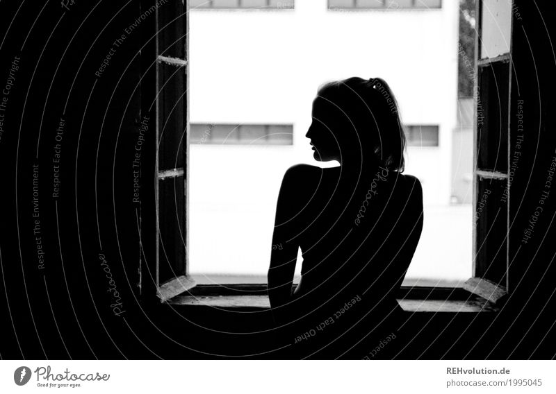Human being Youth (Young adults) Young woman Beautiful Loneliness Window 18 - 30 years Black Adults Sadness Feminine Body Fear Esthetic Stand Longing
