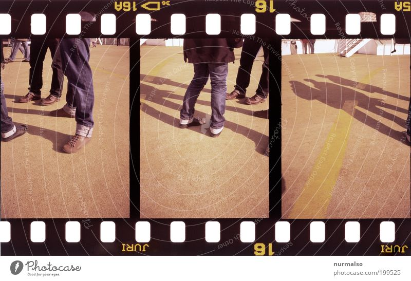 3x cool standing there Human being Legs Feet Environment Jeans Footwear Stand Colour photo Experimental Abstract Shadow Contrast Silhouette Film Analog