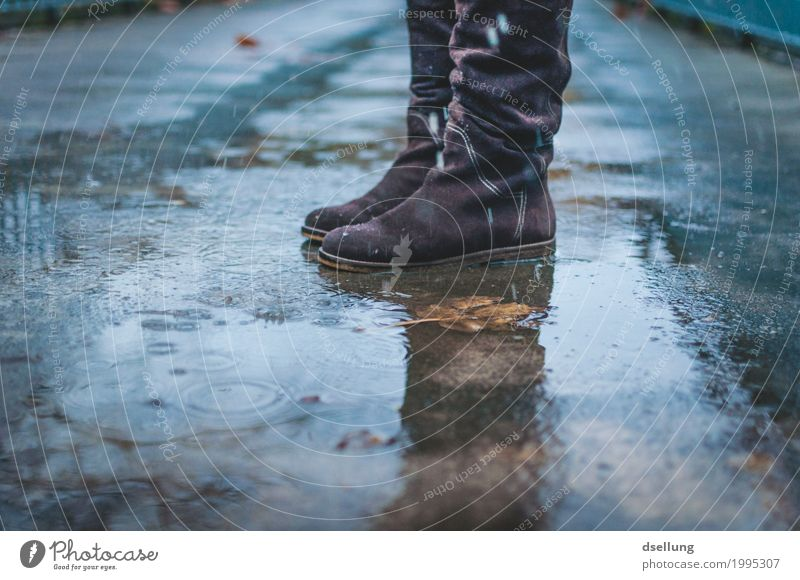 standing in the rain. Autumn Winter Bad weather Rain Footwear Boots Discover Freeze Jump Stand Wait Dark Cold Wet Gloomy Feminine Blue Brown Gray Moody Grief