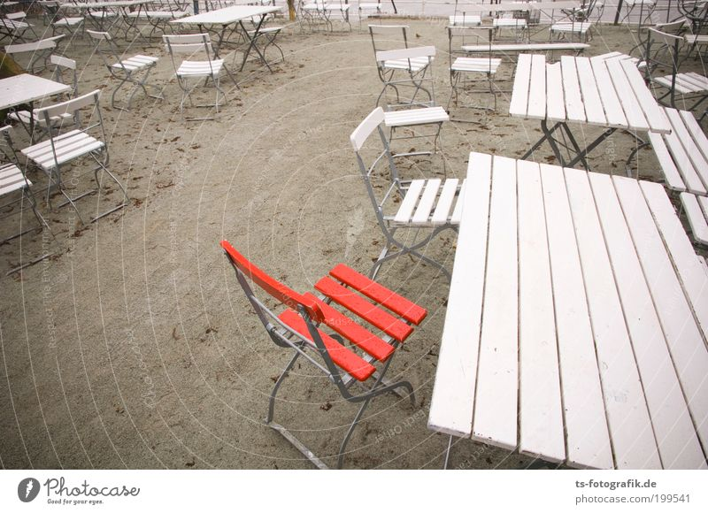Red Vacation & Travel Summer Beach Loneliness Autumn Wood Sand Closed Trip Tourism Table Empty Chair Individual North Sea