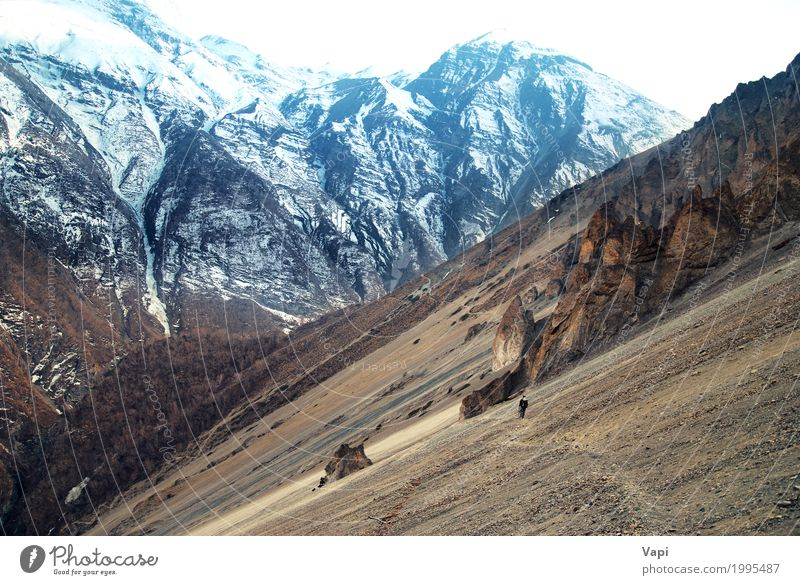 View of Himalayas mountains Human being Sky Nature Vacation & Travel Man Blue White Landscape Winter Mountain Adults Yellow Lanes & trails Snow Stone Tourism