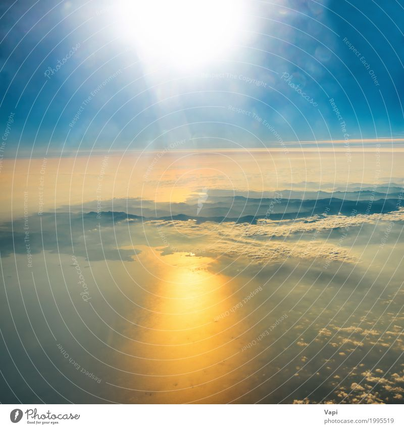 Aerial view of sunset on the sky with sunrays Sky Nature Vacation & Travel Heaven Blue Summer Colour Water White Sun Landscape Ocean Red Clouds Environment Yellow