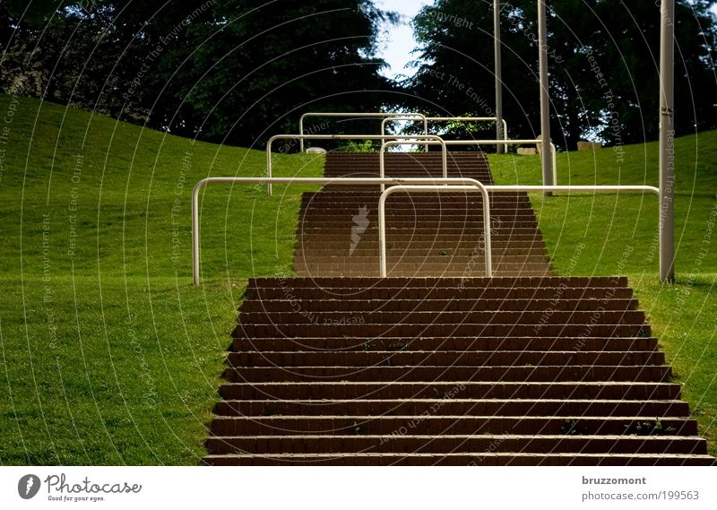 in the park Stairs Go up Barrier Town Long exposure Control barrier Border Deserted Career Meadow Grass Green Hill Row Hurdle Park