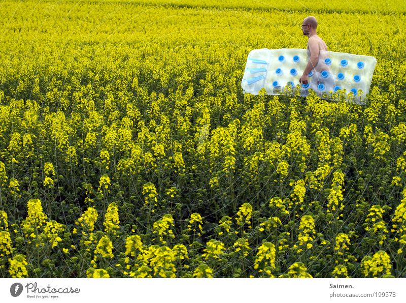 rapeseed Human being Masculine Man Adults 1 Movement To enjoy Exceptional Infinity Funny Nerdy Crazy Contentment Joie de vivre (Vitality) Longing Wanderlust