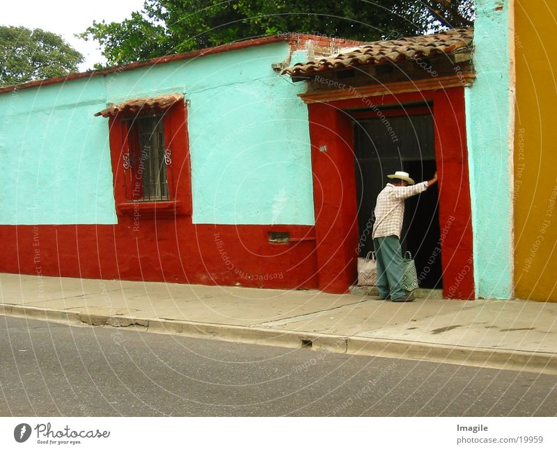 Man House (Residential Structure) Door Hat Mexico Neighbor