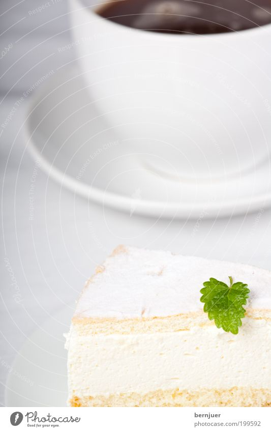 White Leaf Nutrition Fresh Coffee Sweet Decoration Cake Delicious Cup Plate Baked goods Gateau Dessert Cream Crockery