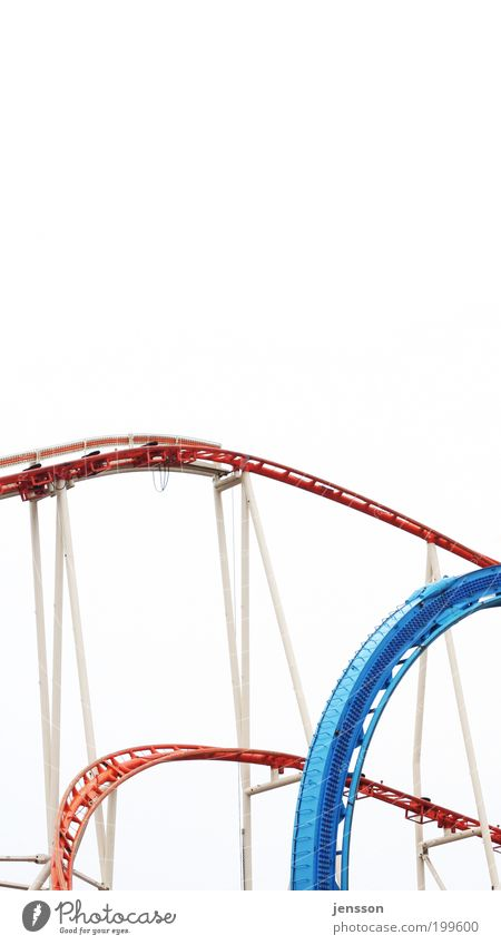 ups and downs Leisure and hobbies Trip Amusement Park Above Under Blue Red White Emotions Joy Happy Happiness Movement Roller coaster Abstract Section of image