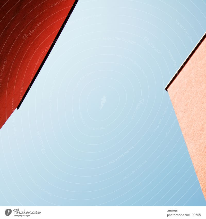 Blue Red House (Residential Structure) Building Architecture Construction site Living or residing Illustration Perspective Sharp-edged Minimalistic Production Cloudless sky
