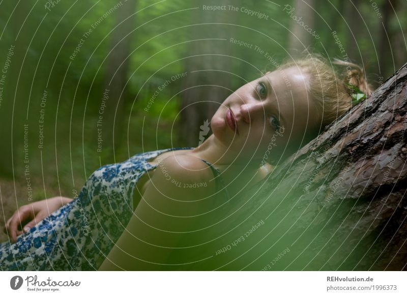 Alexa on a tree trunk. Beautiful Well-being Contentment Relaxation Calm Human being Feminine Young woman Youth (Young adults) Woman Adults Face 1 18 - 30 years