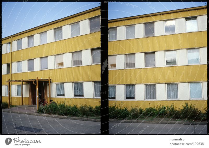 Nature City House (Residential Structure) Window Flat (apartment) Design Environment Lifestyle Authentic Living or residing Painting (action, work) Decline GDR Whimsical Bizarre Block