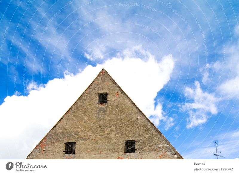The head in the clouds Sky Clouds Summer Beautiful weather Warmth Village House (Residential Structure) Detached house Manmade structures Building Facade Gable