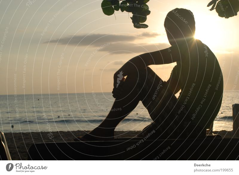savour Masculine Man Adults 18 - 30 years Youth (Young adults) Sand Water Sunrise Sunset Summer Ocean Hot Colour photo Exterior shot Twilight Silhouette Looking
