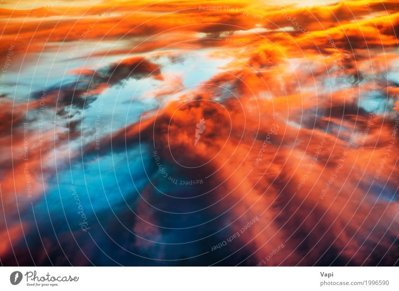 Aerial view to colorful orange and blue dramatic sky Sky Nature Heaven Blue Summer Colour Beautiful Sun Landscape Red Clouds Yellow Moody Above Orange Pink