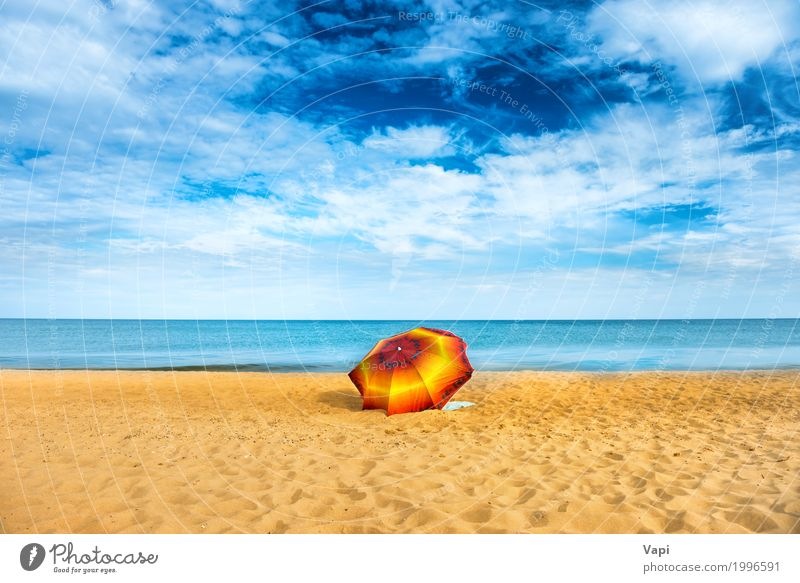 Orange umbrella on golden sand beach Sky Nature Vacation & Travel Blue Summer Beautiful Water White Sun Landscape Ocean Red Relaxation Loneliness Clouds Beach