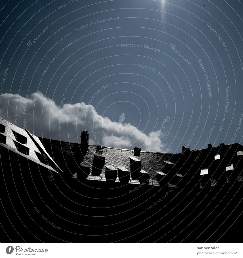 Sky Old Blue Sun Clouds Black House (Residential Structure) Window Architecture Gray Building Glittering Hope Roof Manmade structures