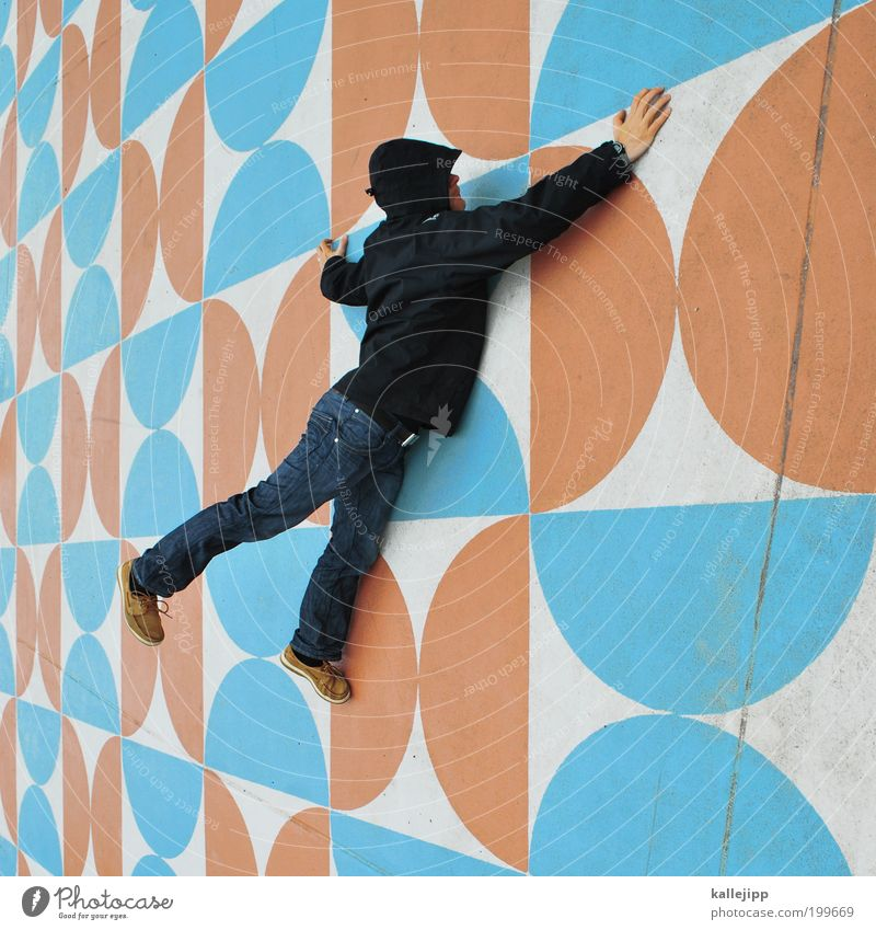 wonderful dreaming Human being Masculine Man Adults Life 1 Art Work of art Wall (barrier) Wall (building) Crawl Climbing Places Cyan Orange Pattern Ornament
