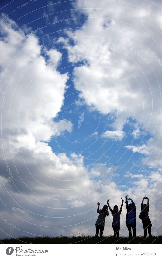 Human being Sky Hand Summer Joy Clouds Environment Freedom Happy Friendship Weather Arm Climate Stand Posture Hill