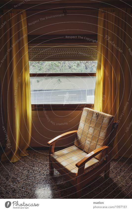 Old Window Dark Yellow Gray Brown Empty Derelict Curtain Armchair Modest Bolster Hotel room