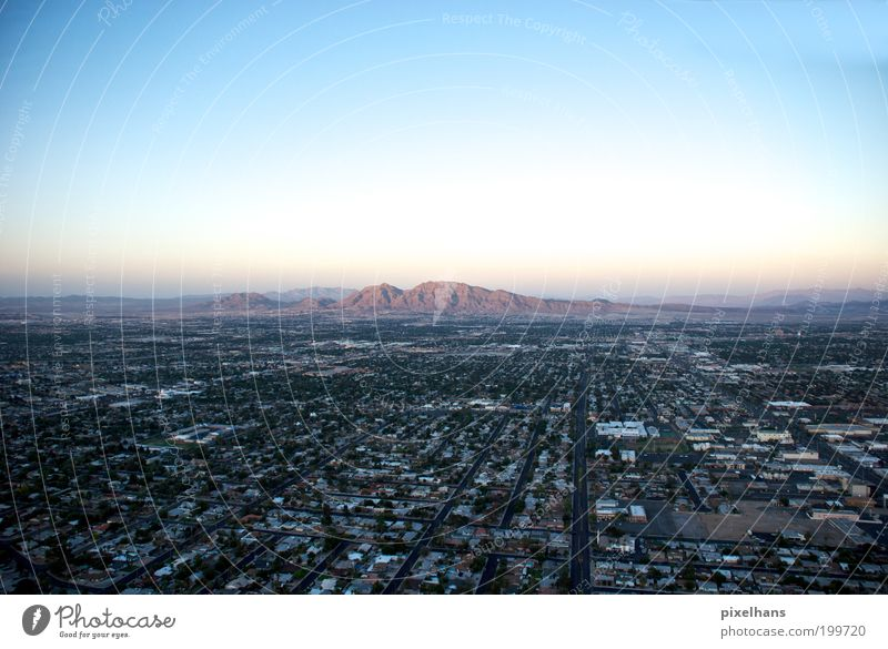 Sim City Far-off places Freedom Environment Landscape Sky Cloudless sky Summer Rock Mountain Las Vegas Nevada Americas Town Populated