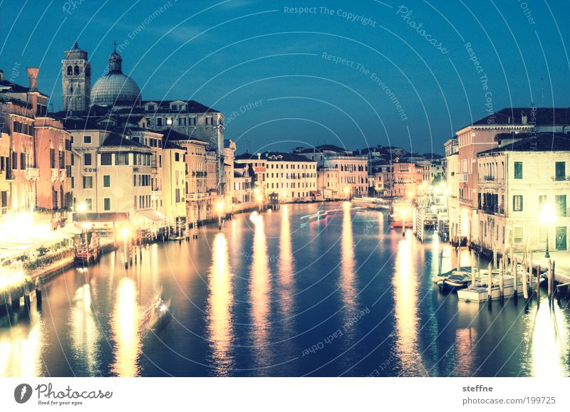 grande Venice Italy Town Port City Downtown Old town Skyline Beautiful Canal Grande palazzo Church Splendid Night shot Long exposure Light Reflection Watercraft