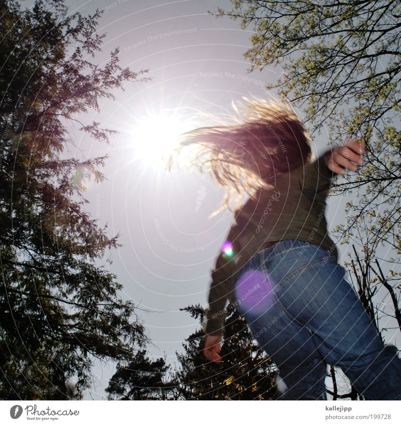 Human being Child Sky Nature Tree Plant Sun Girl Joy Environment Life Playing Jump Air Weather Infancy