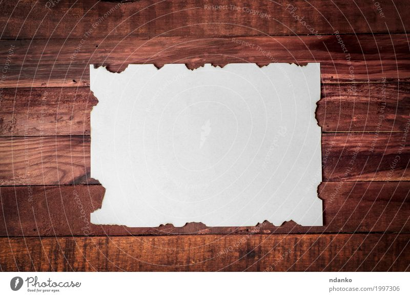 White clean sheet with burnt edges Old Wood Business Brown Design Office Dirty Retro Creativity Paper Surface Rough Consistency Blank Grunge