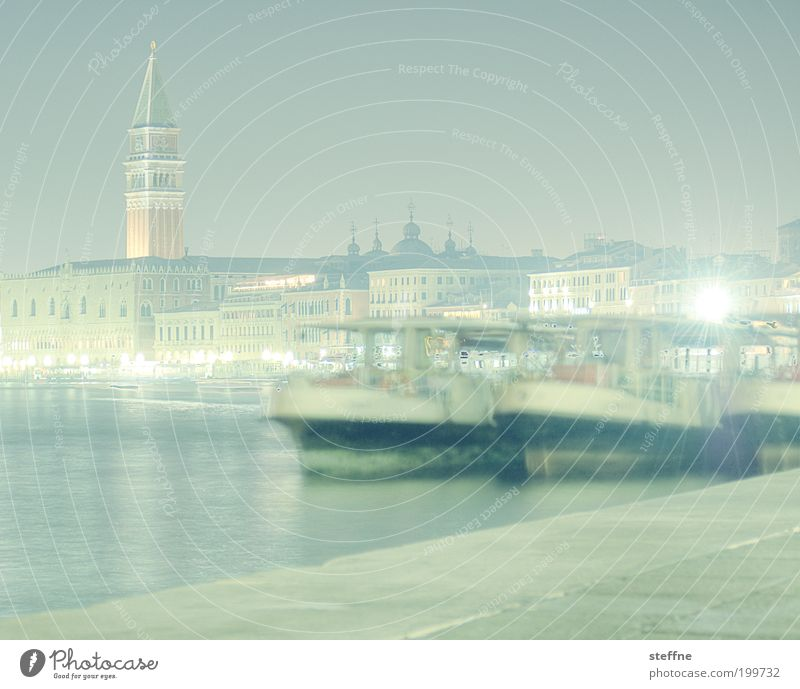 Water Beautiful City Vacation & Travel Watercraft Bright Fog Elegant Italy Skyline Downtown Venice Ferry Old town Night shot Land Feature