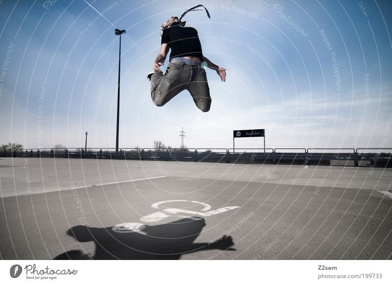 never give up! Lifestyle Sky Clouds Park Parking garage Street Jeans Tie To fall Flying Jump Esthetic Cool (slang) Success Infinity Tall Uniqueness Crazy