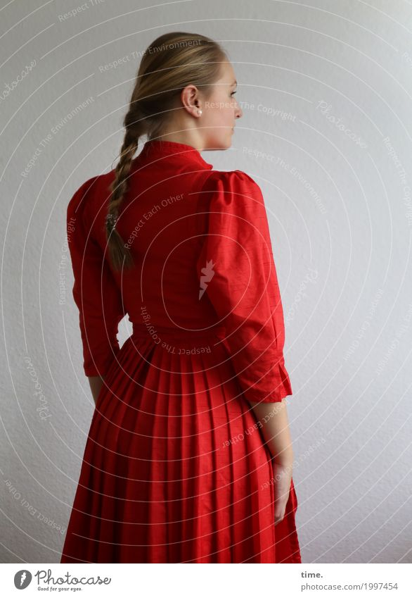 . Feminine Young woman Youth (Young adults) 1 Human being Dress Hair and hairstyles Blonde Long-haired Braids Observe Looking Stand Beautiful Red Self-confident