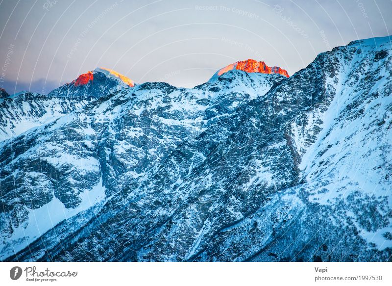 Sunset over the winter mountains Sky Nature Vacation & Travel Blue Colour White Landscape Red Winter Mountain Environment Yellow Natural Snow Freedom