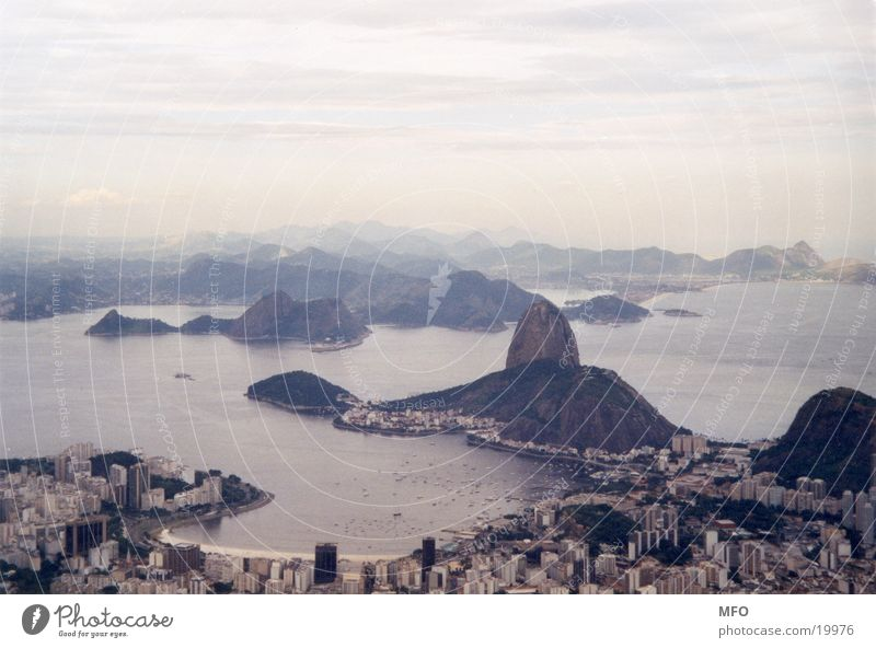 Ocean Far-off places Rio de Janeiro Coast Rock Bay Vantage point Landmark Brazil Famousness South America Attraction Destination Corcovado-Botafogo
