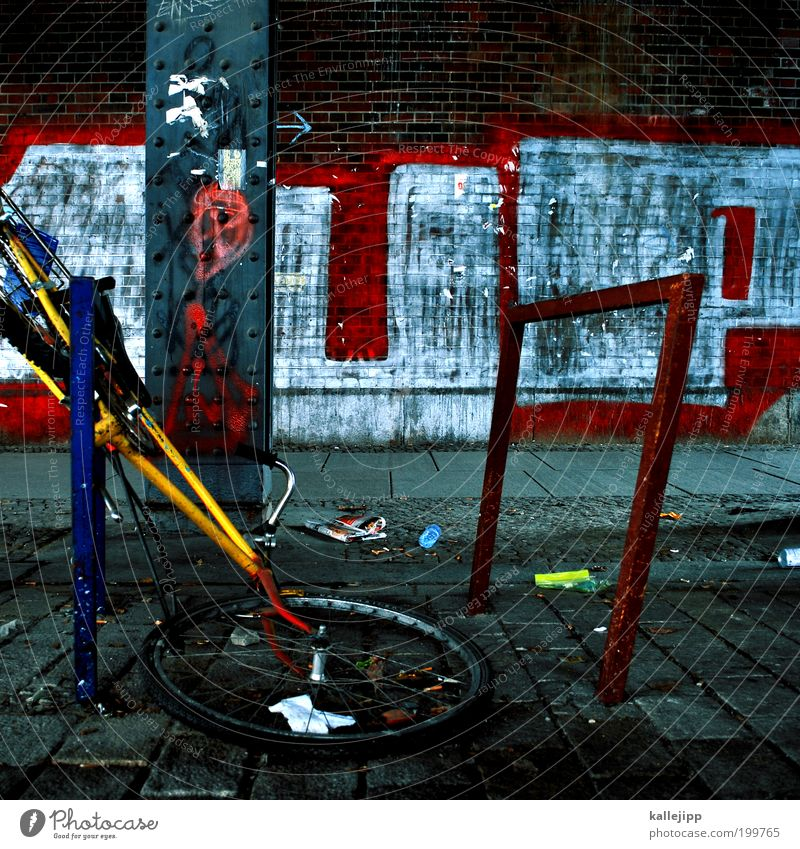 on the way to the bicycle sky Youth culture Subculture Bicycle Graffiti Arrow Anger Aggravation Frustration Revenge Aggression Force Hatred Bicycle rack