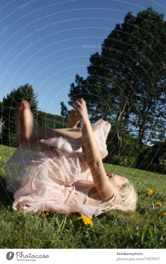 girl_fee_2 Child Girl Infancy 8 - 13 years Nature Spring Summer Garden Park Meadow Movement To fall Lie To swing Playing Romp Happiness Beautiful Funny Natural